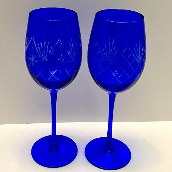 VINTAGE COBALT BLUE CUT CLEAR CRYSTAL WINE GLASSS